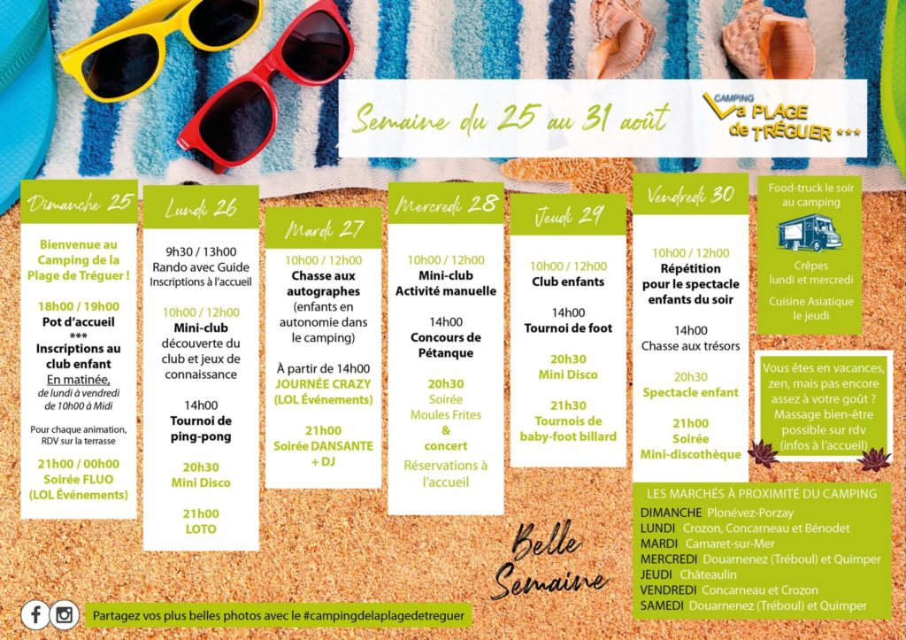 Programme of activities at Tréguer Bretagne campsite